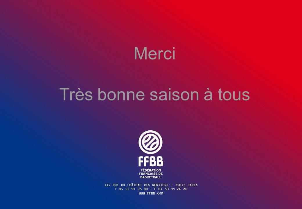 117 RUE DU CHÂTEAU DES RENTIERS - 75013 PARIS T 01 53 94 25 00 - F 01 53 94 26 80 WWW.FFBB.COM Merci Très bonne saison à tous