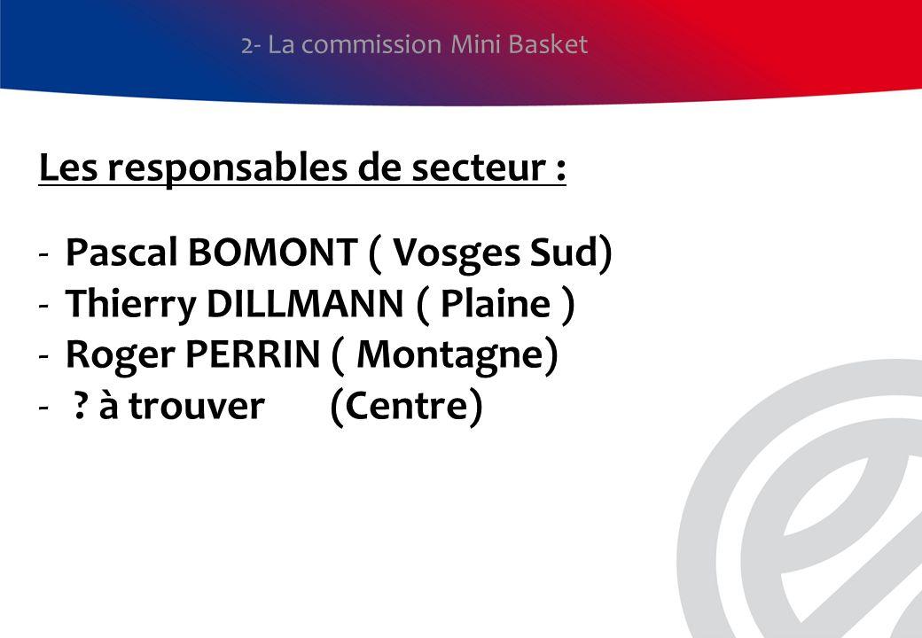 Les responsables de secteur : -Pascal BOMONT ( Vosges Sud) -Thierry DILLMANN ( Plaine ) -Roger PERRIN ( Montagne) - ? à trouver (Centre) 2- La commiss