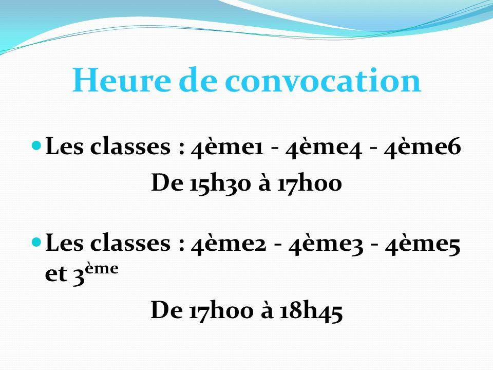 Heure de convocation Les classes : 4ème1 - 4ème4 - 4ème6 De 15h30 à 17h00 Les classes : 4ème2 - 4ème3 - 4ème5 et 3 ème De 17h00 à 18h45