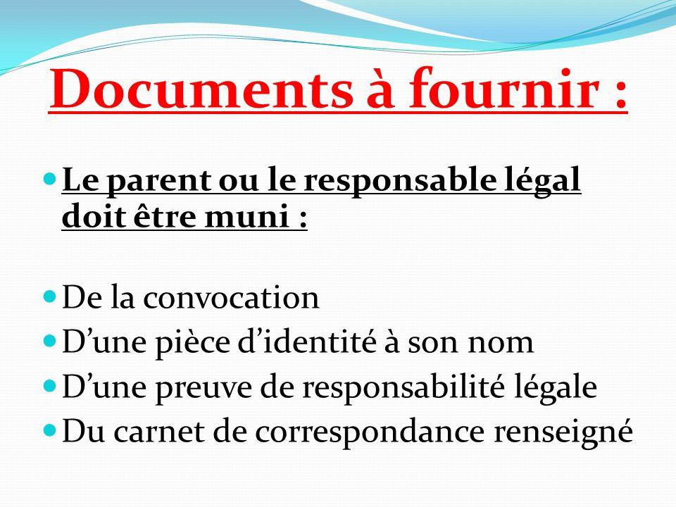 Documents à fournir : Le parent ou le responsable légal doit être muni : De la convocation Dune pièce didentité à son nom Dune preuve de responsabilit