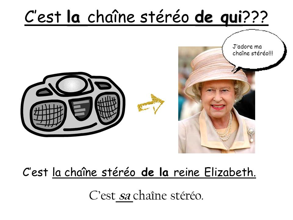 la de qui Cest la chaîne stéréo de qui??? Cest la chaîne stéréo de la reine Elizabeth. Cest sa chaîne stéréo. Jadore ma chaîne stéréo!!!