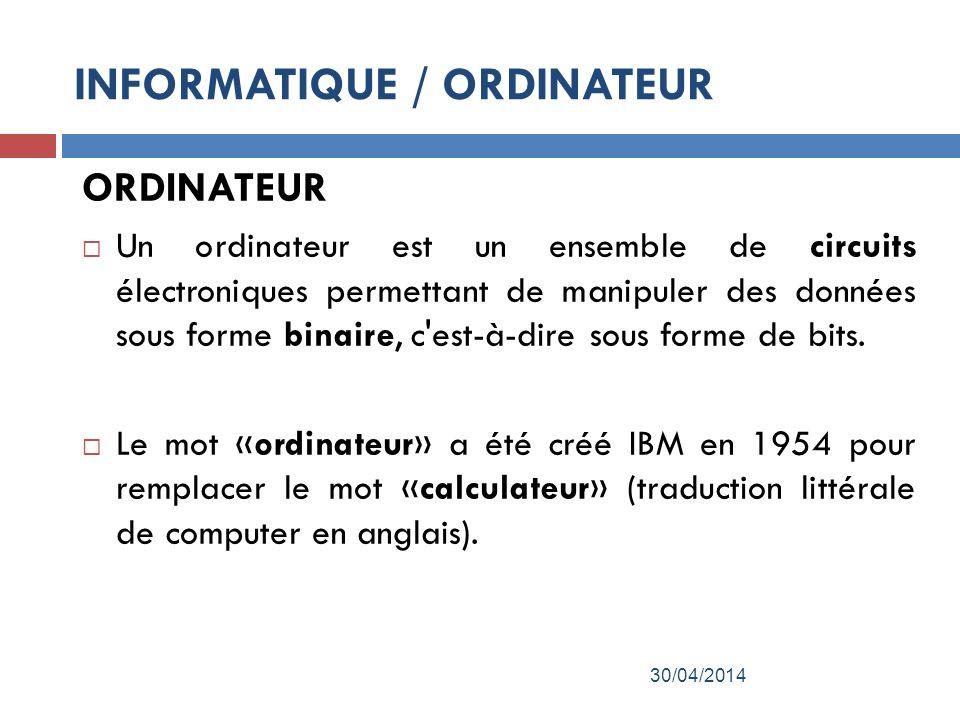 ORDINATEUR Un ordinateur est un ensemble de circuits électroniques permettant de manipuler des données sous forme binaire, c est-à-dire sous forme de bits.