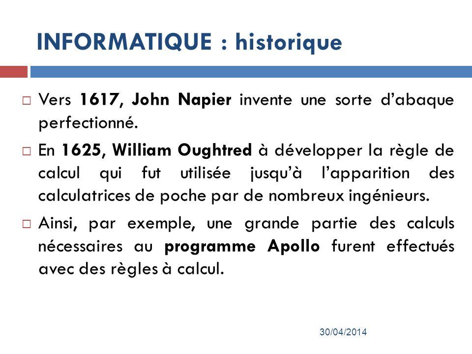 Vers 1617, John Napier invente une sorte dabaque perfectionné.