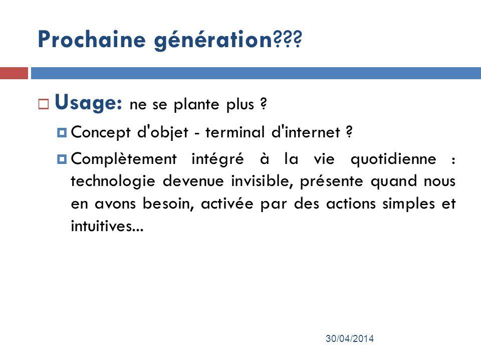 Prochaine génération??.Usage: ne se plante plus .