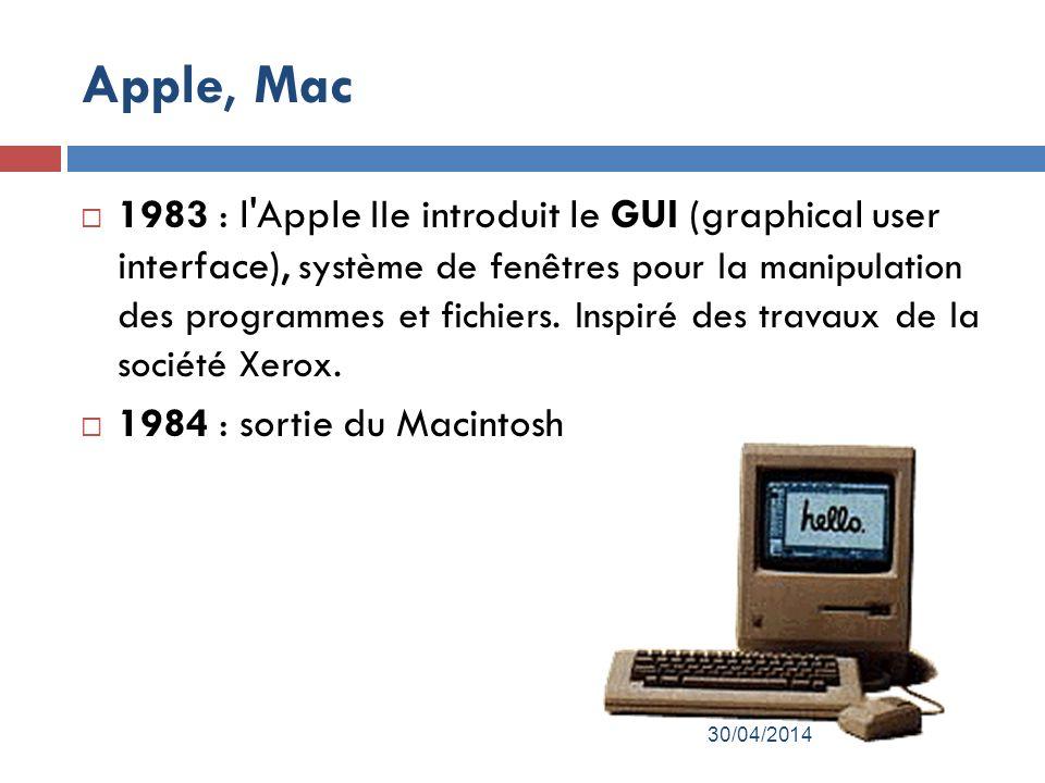 Apple, Mac 1983 : l Apple IIe introduit le GUI (graphical user interface), système de fenêtres pour la manipulation des programmes et fichiers.
