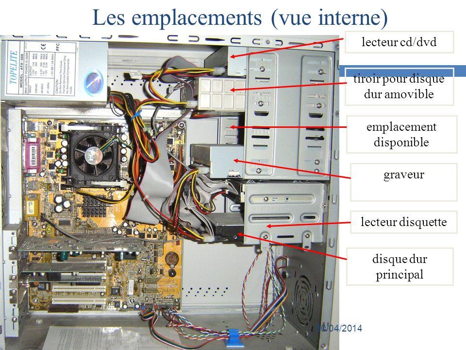 lecteur cd/dvd tiroir pour disque dur amovible lecteur disquette graveur emplacement disponible disque dur principal Les emplacements (vue interne) 30/04/2014