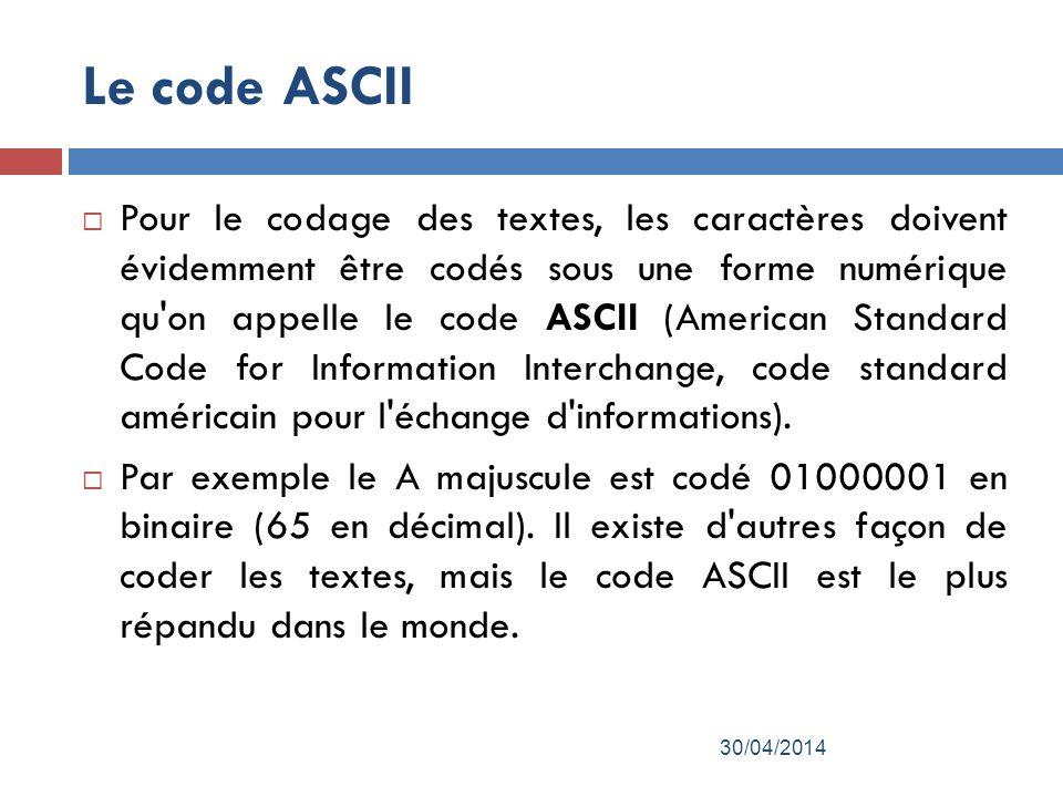 Le code ASCII Pour le codage des textes, les caractères doivent évidemment être codés sous une forme numérique qu on appelle le code ASCII (American Standard Code for Information Interchange, code standard américain pour l échange d informations).