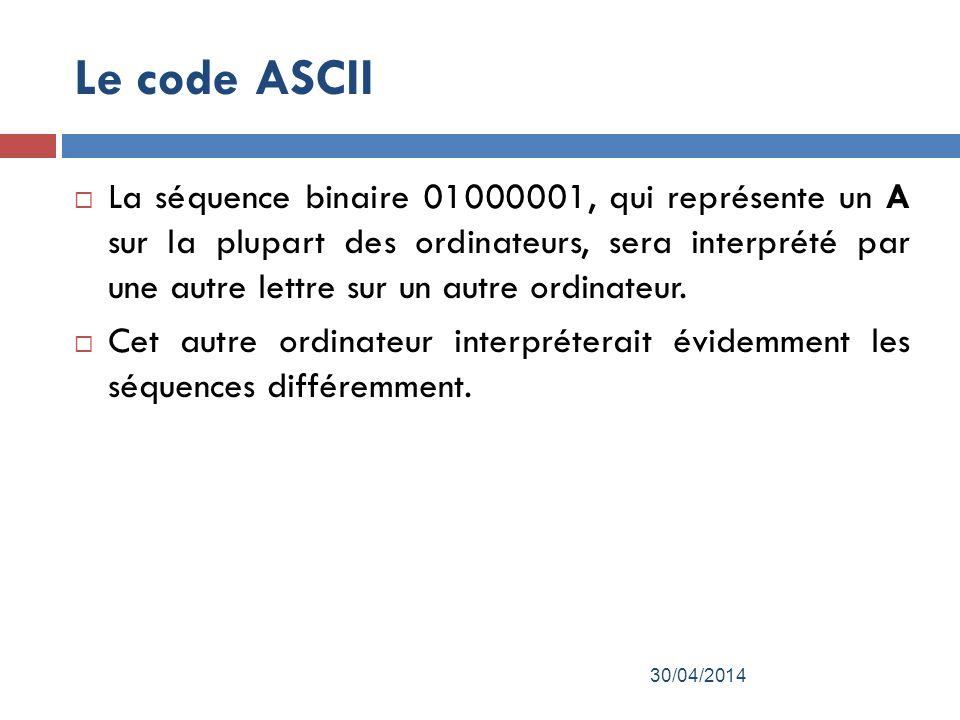 Le code ASCII La séquence binaire 01000001, qui représente un A sur la plupart des ordinateurs, sera interprété par une autre lettre sur un autre ordinateur.