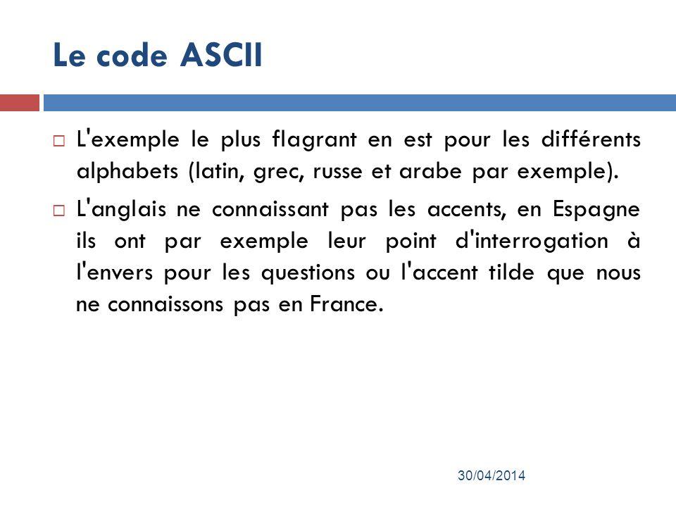 Le code ASCII L exemple le plus flagrant en est pour les différents alphabets (latin, grec, russe et arabe par exemple).