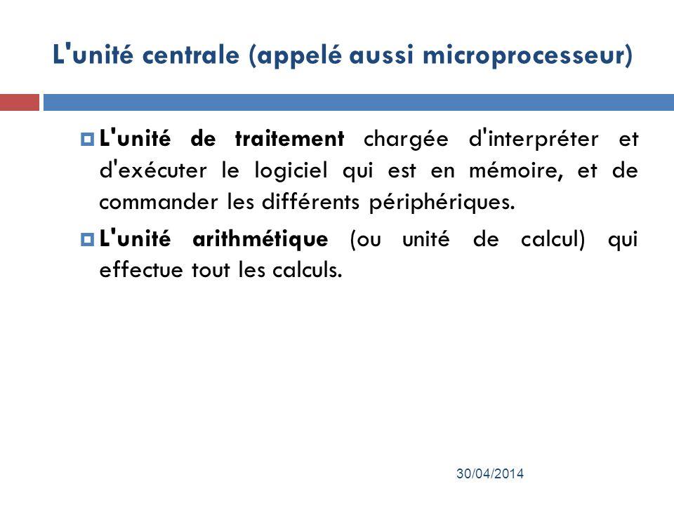 L unité centrale (appelé aussi microprocesseur) L unité de traitement chargée d interpréter et d exécuter le logiciel qui est en mémoire, et de commander les différents périphériques.