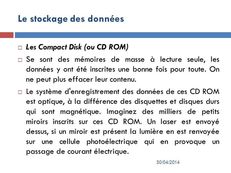 Le stockage des données Les Compact Disk (ou CD ROM) Se sont des mémoires de masse à lecture seule, les données y ont été inscrites une bonne fois pour toute.