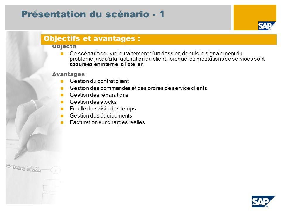 Présentation du scénario - 1 Objectif Ce scénario couvre le traitement dun dossier, depuis le signalement du problème jusquà la facturation du client,