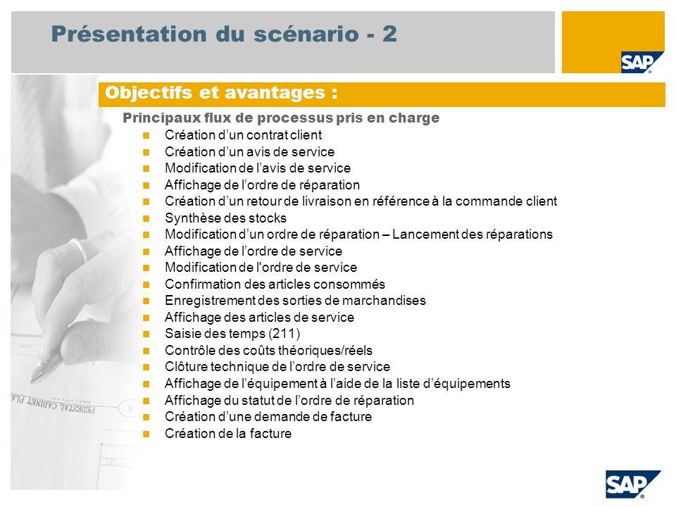 Présentation du scénario - 2 Principaux flux de processus pris en charge Création dun contrat client Création dun avis de service Modification de lavi