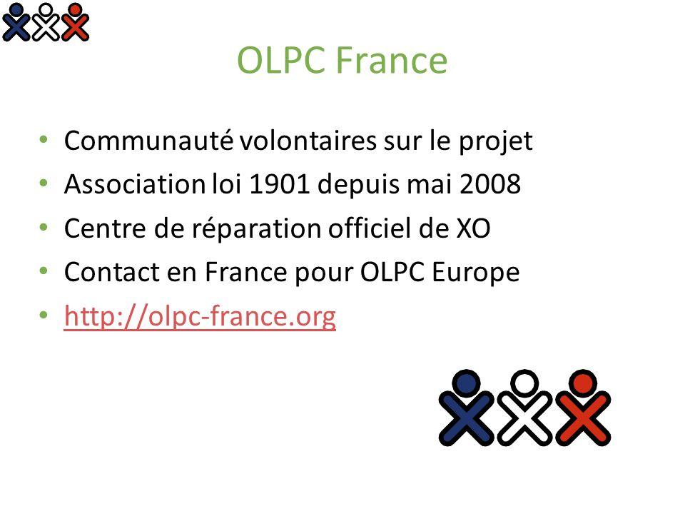 OLPC France Communauté volontaires sur le projet Association loi 1901 depuis mai 2008 Centre de réparation officiel de XO Contact en France pour OLPC Europe http://olpc-france.org