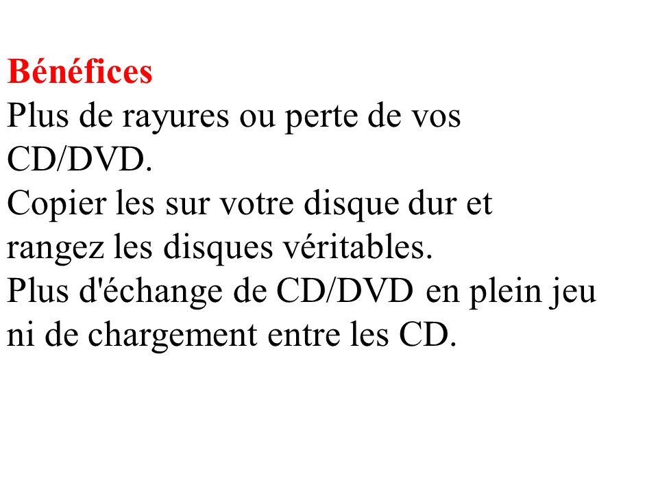 Bénéfices Plus de rayures ou perte de vos CD/DVD.