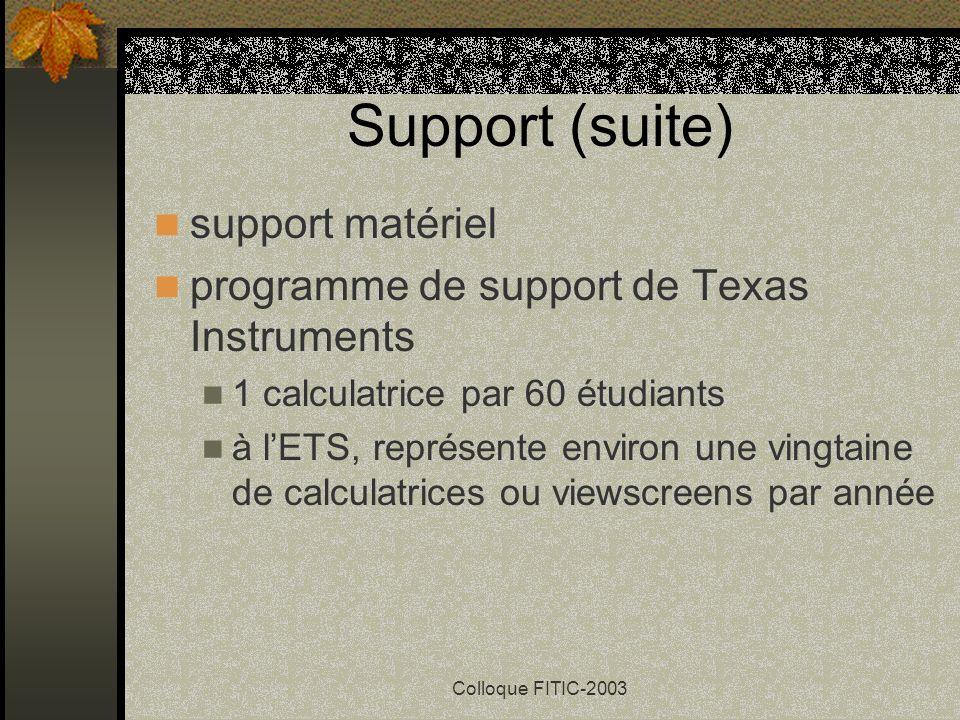 Colloque FITIC-2003 Support pour cette expérience projets PSIRE (avec Michel Beaudin et Kathleen Pineau) site internet pour les usagers ateliers de fo