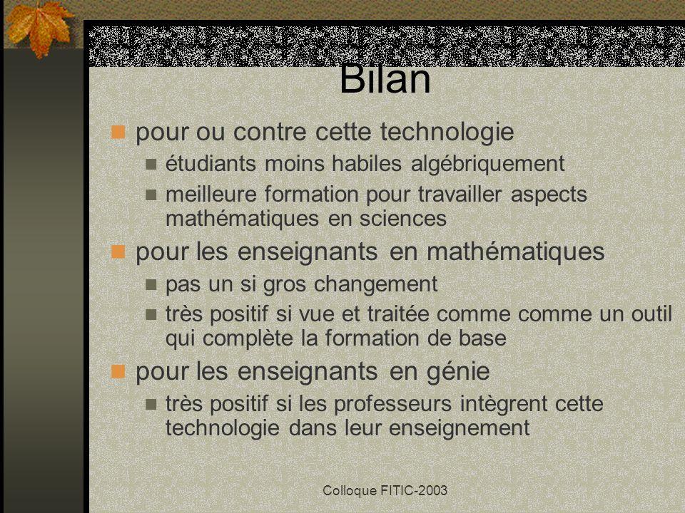 Colloque FITIC-2003 Techno-conseils (suite) montrez aux étudiants les erreurs courantes le temps économisé en calculs algébriques peut être consacré à