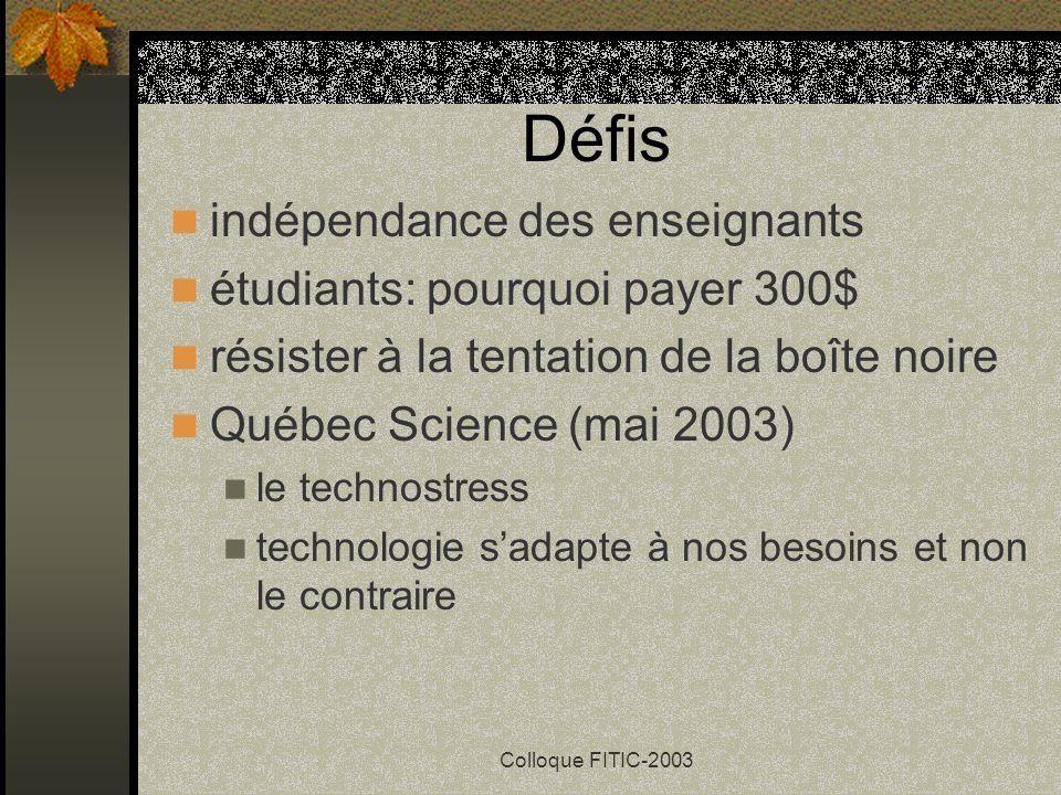 Colloque FITIC-2003 Bilan pour ou contre cette technologie étudiants moins habiles algébriquement meilleure formation pour travailler aspects mathémat