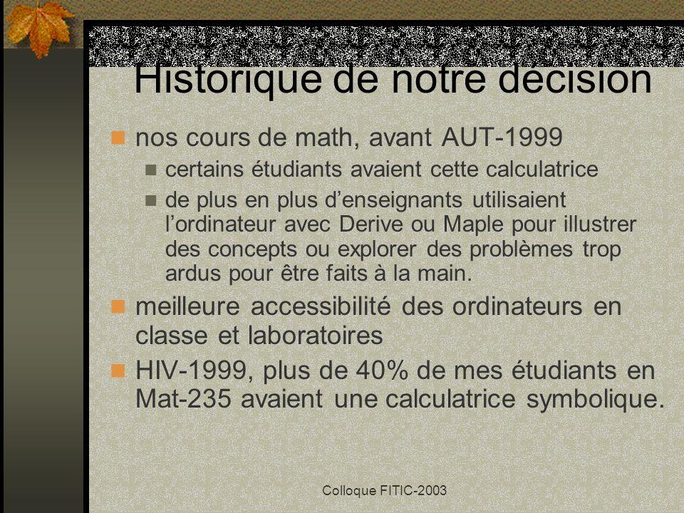 Colloque FITIC-2003 Calculatrice symbolique en 1995, la première calculatrice symbolique, la TI-92 Le choix de lETS: TI-89 ou TI-92 Plus ou la Voyage