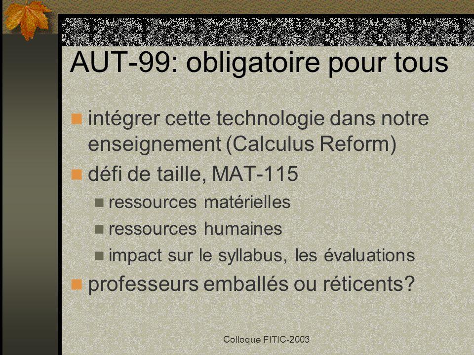 Colloque FITIC-2003 AUT-99: obligatoire pour tous intégrer cette technologie dans notre enseignement (Calculus Reform) défi de taille, MAT-115 ressources matérielles ressources humaines impact sur le syllabus, les évaluations professeurs emballés ou réticents?