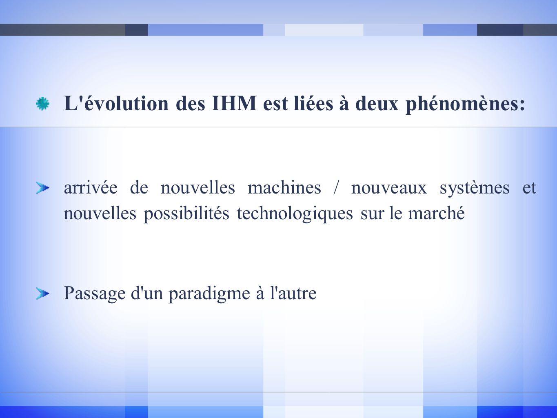 L évolution des IHM est liées à deux phénomènes: arrivée de nouvelles machines / nouveaux systèmes et nouvelles possibilités technologiques sur le marché Passage d un paradigme à l autre