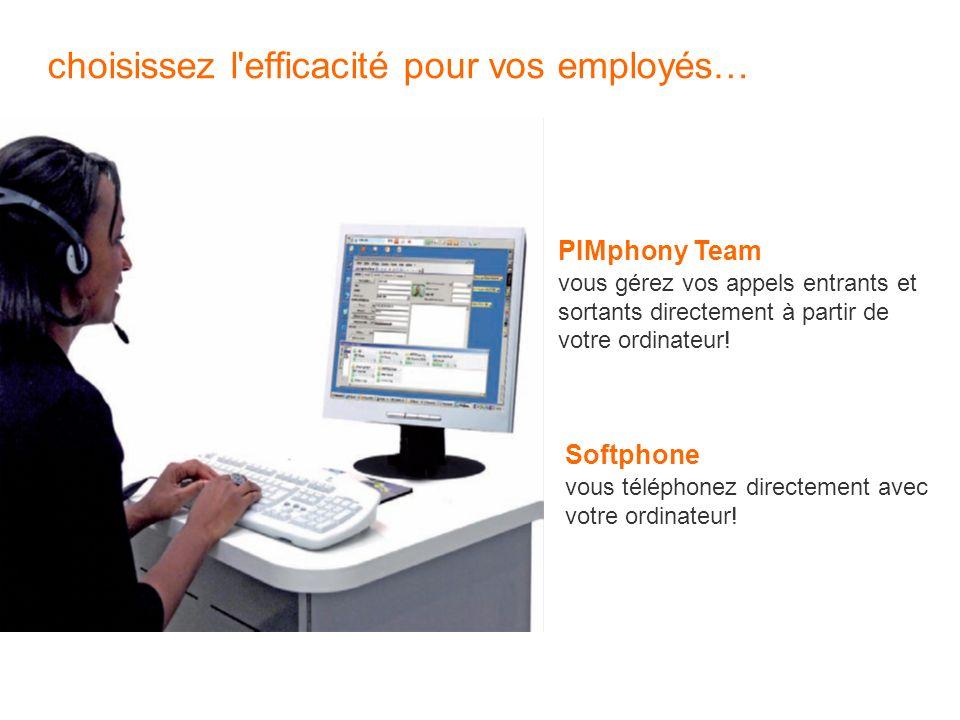 choisissez l'efficacité pour vos employés… PIMphony Team vous gérez vos appels entrants et sortants directement à partir de votre ordinateur! Softphon