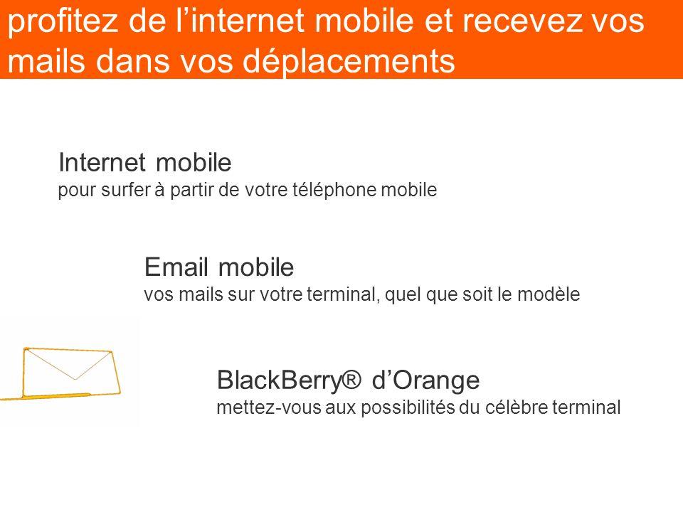 profitez de linternet mobile et recevez vos mails dans vos déplacements BlackBerry® dOrange mettez-vous aux possibilités du célèbre terminal Email mob