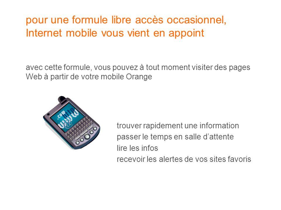 pour une formule libre accès occasionnel, Internet mobile vous vient en appoint avec cette formule, vous pouvez à tout moment visiter des pages Web à