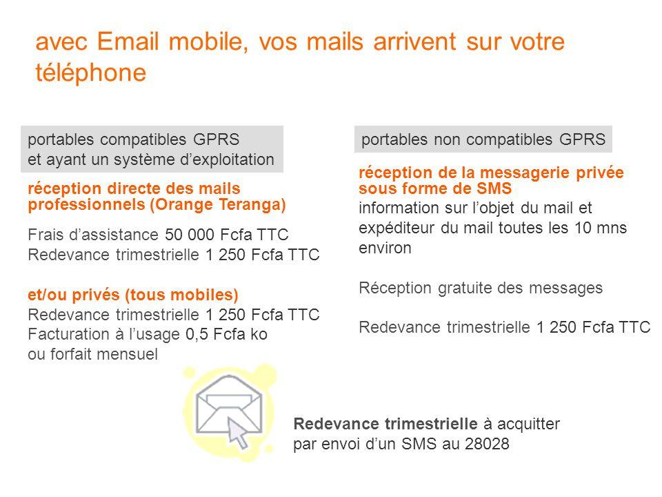 avec Email mobile, vos mails arrivent sur votre téléphone portables non compatibles GPRSportables compatibles GPRS et ayant un système dexploitation r