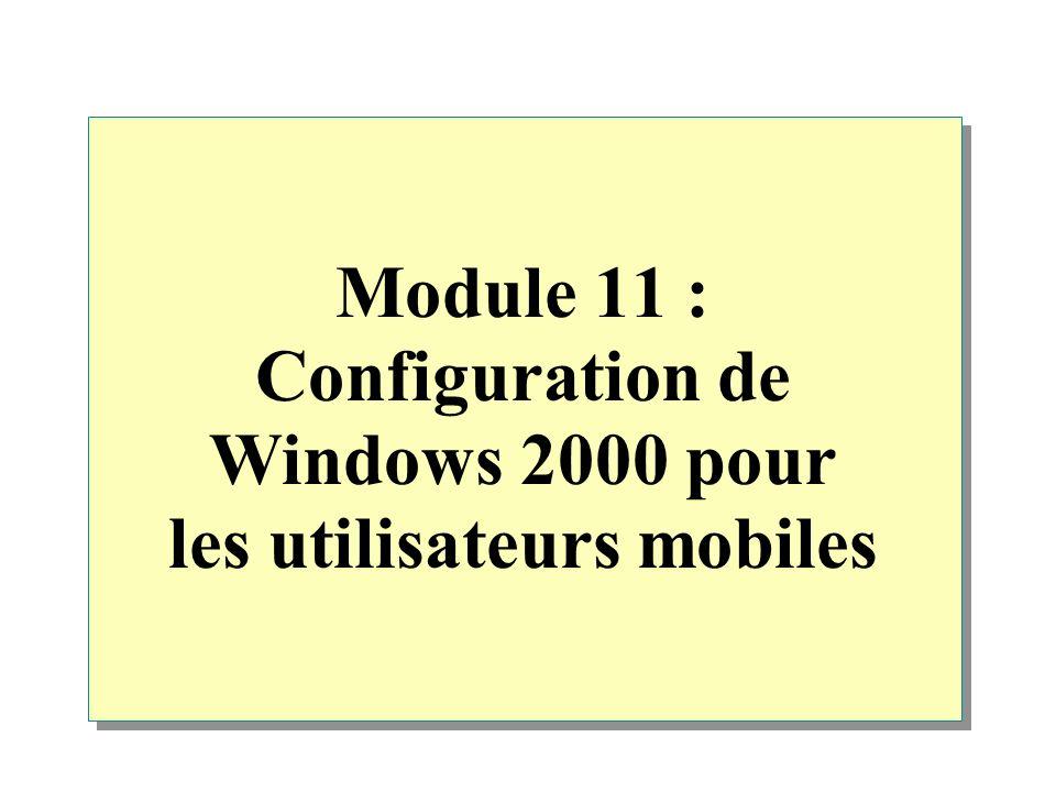 Module 11 : Configuration de Windows 2000 pour les utilisateurs mobiles