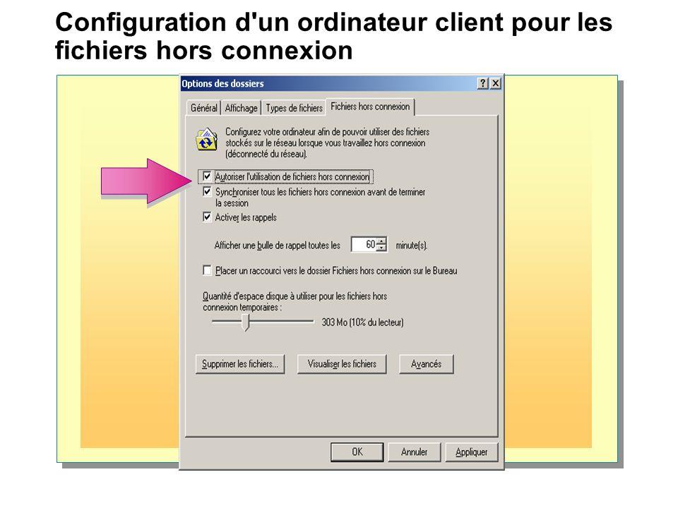 Configuration d un ordinateur client pour les fichiers hors connexion