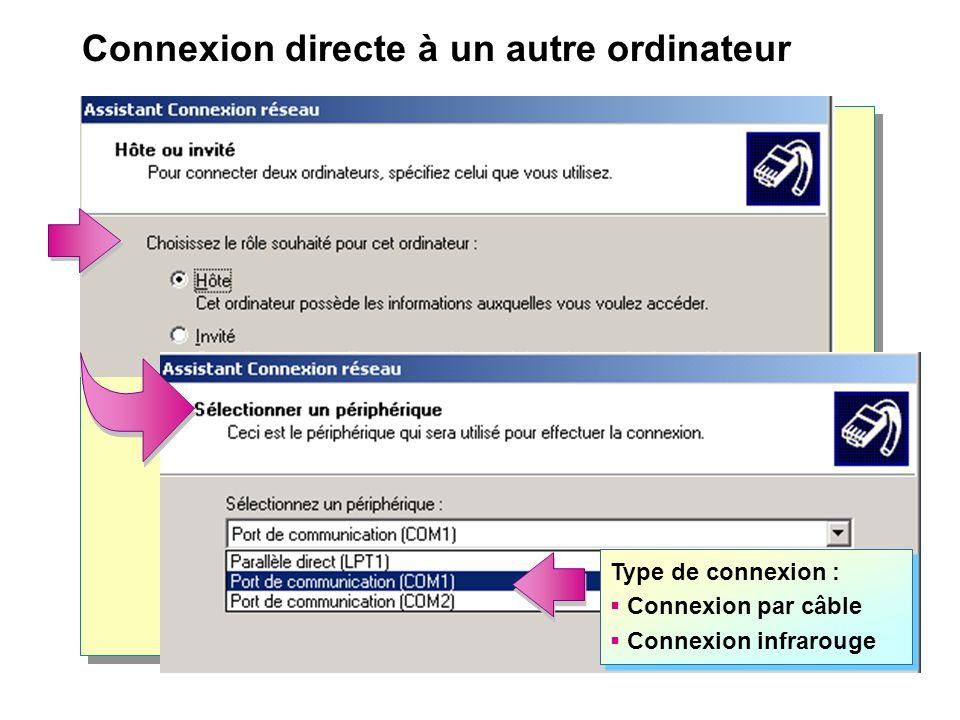 Connexion directe à un autre ordinateur Type de connexion : Connexion par câble Connexion infrarouge Type de connexion : Connexion par câble Connexion infrarouge