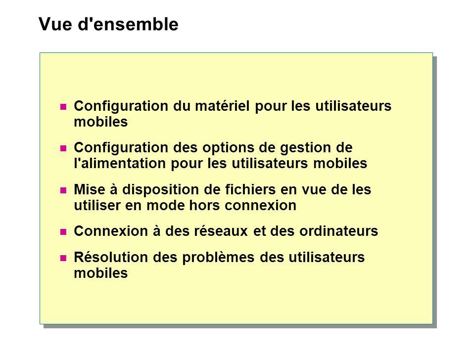Vue d ensemble Configuration du matériel pour les utilisateurs mobiles Configuration des options de gestion de l alimentation pour les utilisateurs mobiles Mise à disposition de fichiers en vue de les utiliser en mode hors connexion Connexion à des réseaux et des ordinateurs Résolution des problèmes des utilisateurs mobiles
