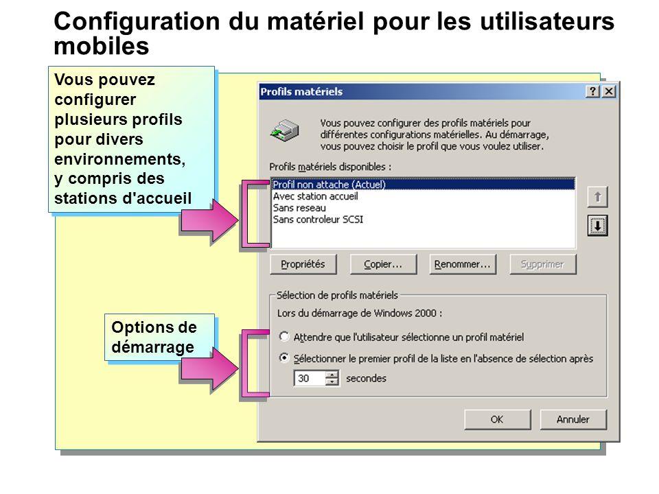 Configuration du matériel pour les utilisateurs mobiles Hardware Profiles You can set up hardware profiles for different hardware configurations.