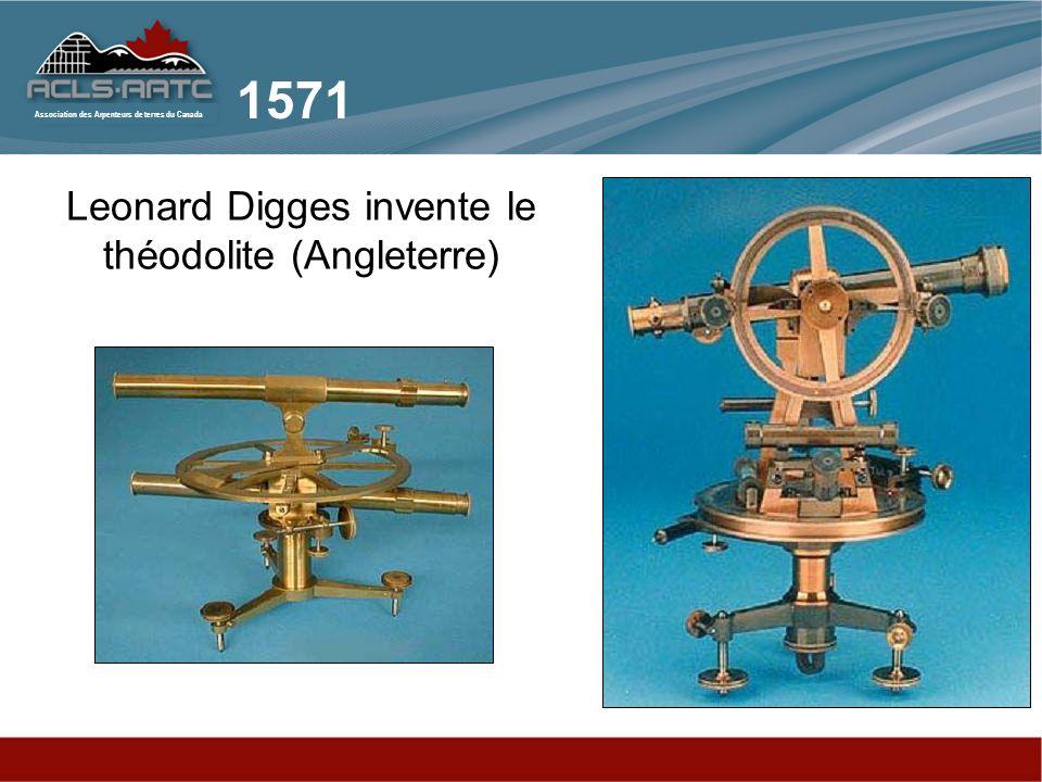 Association des Arpenteurs de terres du Canada Leonard Digges invente le théodolite (Angleterre) 1571