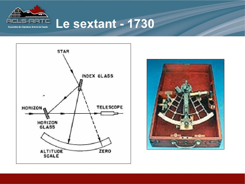 Association des Arpenteurs de terres du Canada Le sextant - 1730