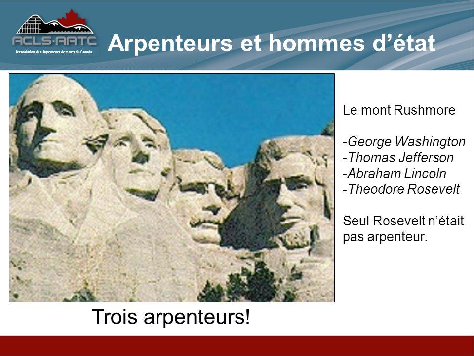 Association des Arpenteurs de terres du Canada Arpenteurs et hommes détat Trois arpenteurs! Le mont Rushmore -George Washington -Thomas Jefferson -Abr
