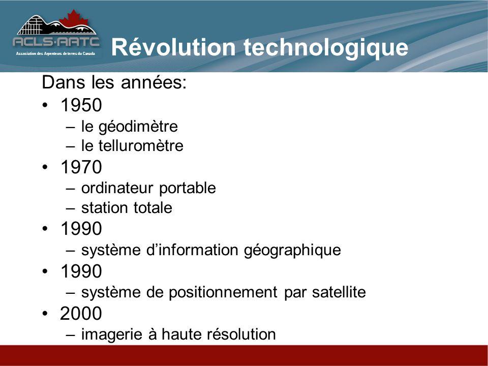 Association des Arpenteurs de terres du Canada Révolution technologique Dans les années: 1950 –le géodimètre –le telluromètre 1970 –ordinateur portabl