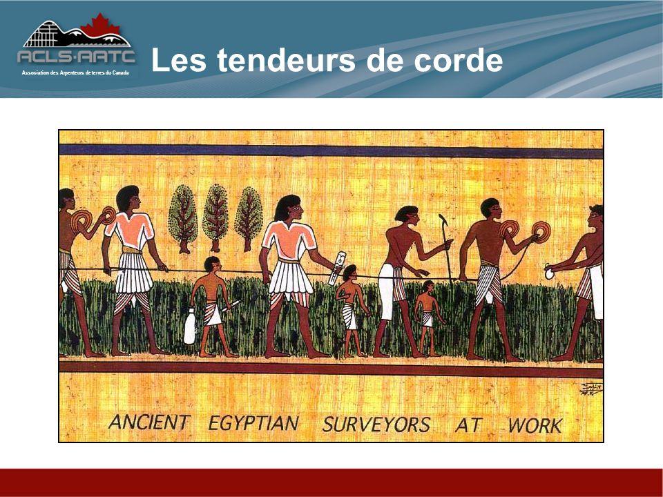 Association des Arpenteurs de terres du Canada La civilisation égyptienne primitive –Les pyramides –Pythagore –Inondation de Nile –Archives cadastraux primities en 3400 av.