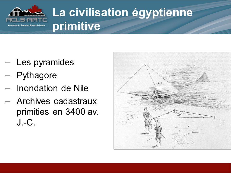 Association des Arpenteurs de terres du Canada La civilisation égyptienne primitive –Les pyramides –Pythagore –Inondation de Nile –Archives cadastraux