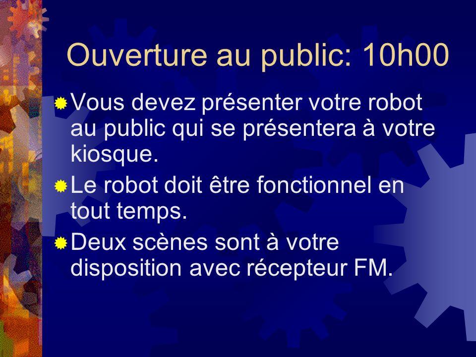 Ouverture au public: 10h00 Vous devez présenter votre robot au public qui se présentera à votre kiosque.