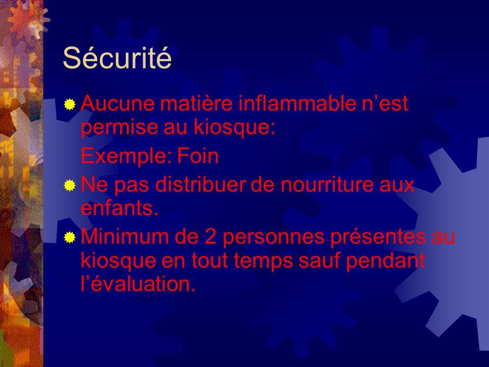 Sécurité Aucune matière inflammable nest permise au kiosque: Exemple: Foin Ne pas distribuer de nourriture aux enfants.