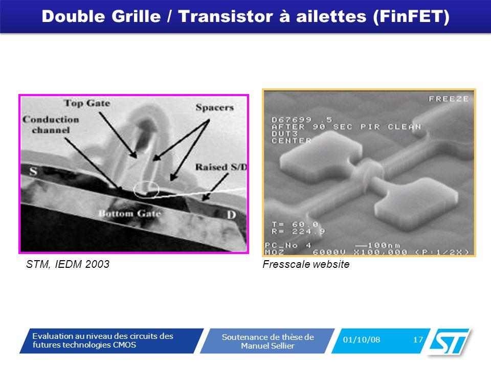 Evaluation au niveau des circuits des futures technologies CMOS Soutenance de thèse de Manuel Sellier Double Grille / Transistor à ailettes (FinFET) 01/10/08 17 STM, IEDM 2003Fresscale website