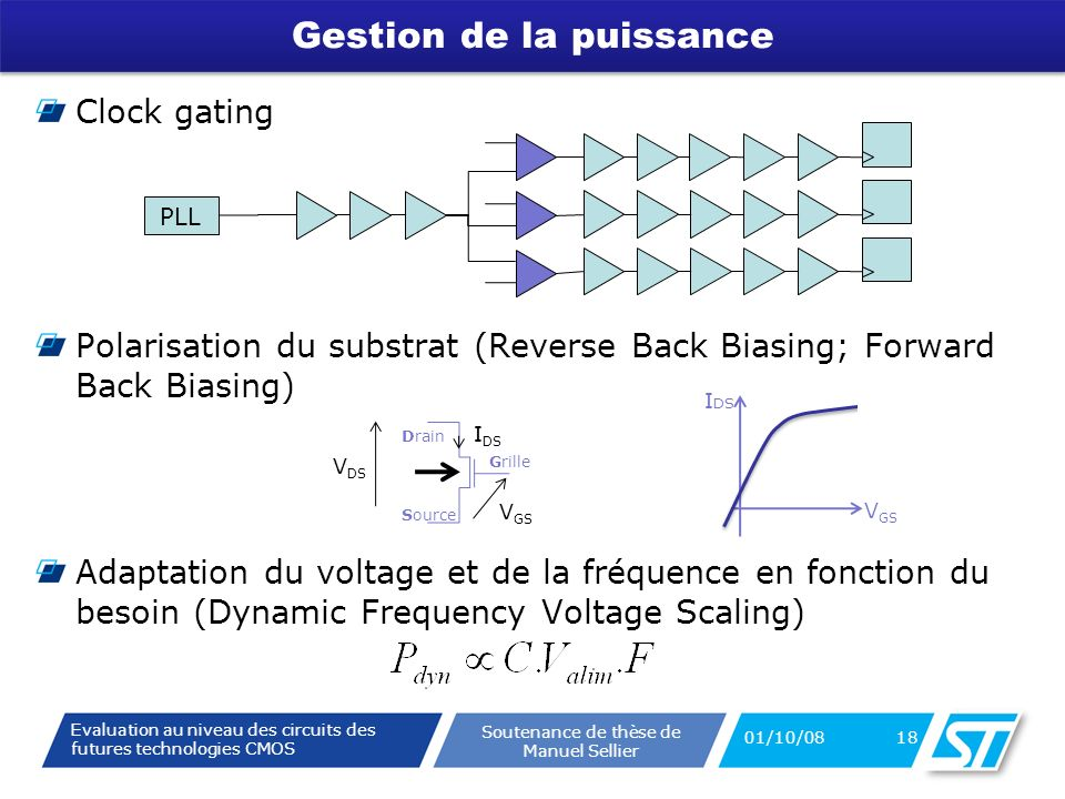Evaluation au niveau des circuits des futures technologies CMOS Soutenance de thèse de Manuel Sellier Gestion de la puissance Clock gating Polarisation du substrat (Reverse Back Biasing; Forward Back Biasing) Adaptation du voltage et de la fréquence en fonction du besoin (Dynamic Frequency Voltage Scaling) 01/10/08 18 PLL V GS I DS Grille Source Drain V GS V DS I DS