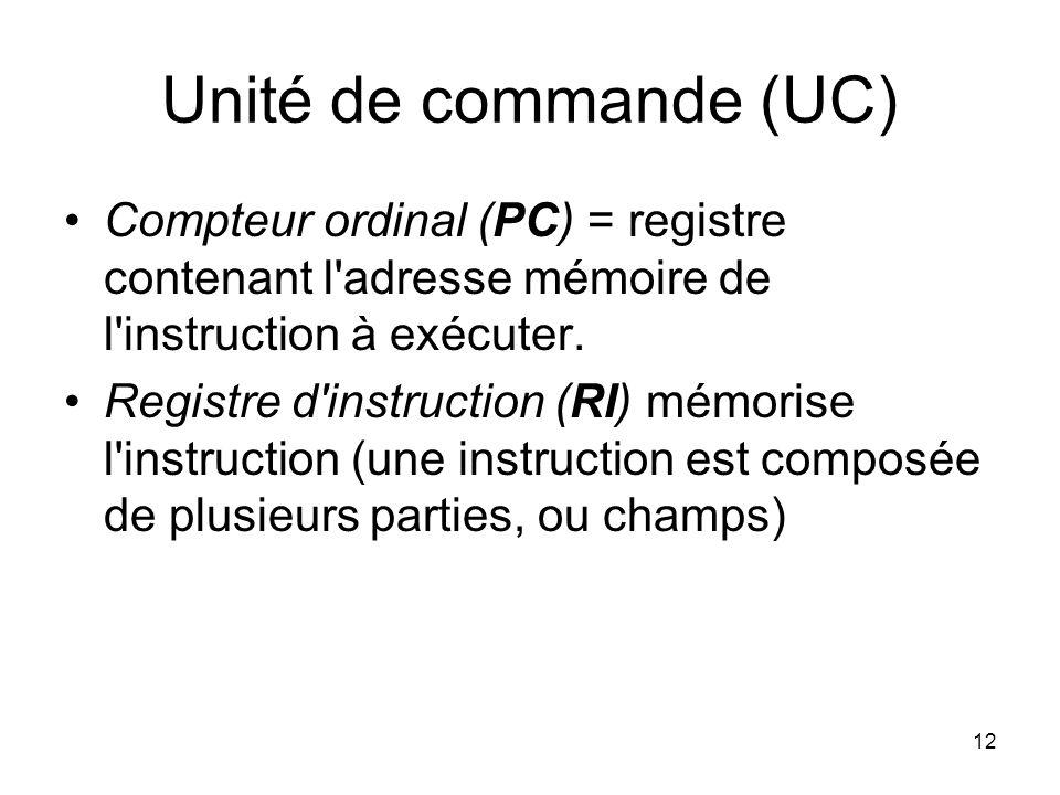 12 Unité de commande (UC) Compteur ordinal (PC) = registre contenant l'adresse mémoire de l'instruction à exécuter. Registre d'instruction (RI) mémori