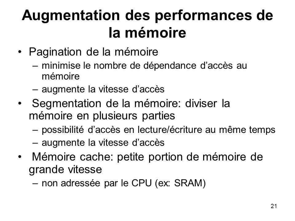 21 Augmentation des performances de la mémoire Pagination de la mémoire –minimise le nombre de dépendance daccès au mémoire –augmente la vitesse daccè