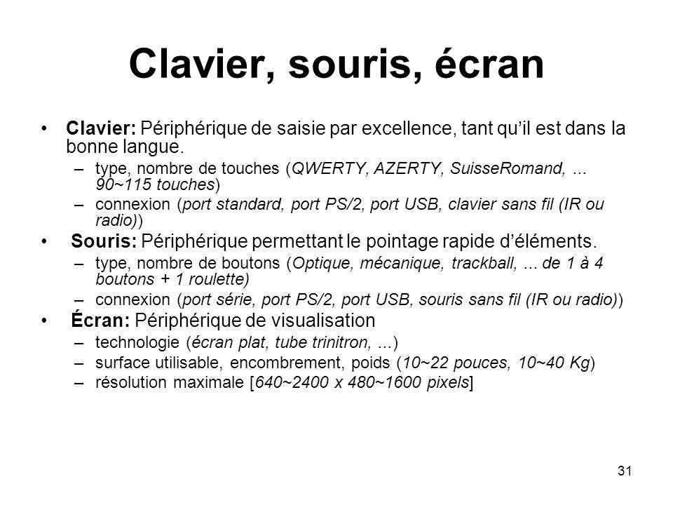 31 Clavier, souris, écran Clavier: Périphérique de saisie par excellence, tant quil est dans la bonne langue. –type, nombre de touches (QWERTY, AZERTY
