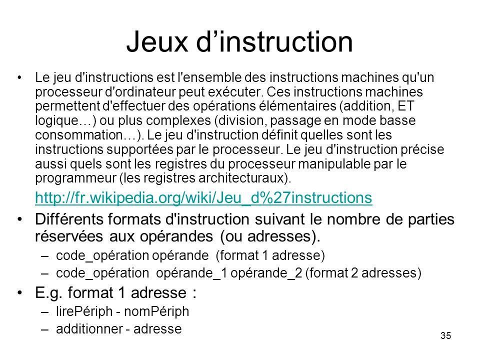 35 Jeux dinstruction Le jeu d'instructions est l'ensemble des instructions machines qu'un processeur d'ordinateur peut exécuter. Ces instructions mach