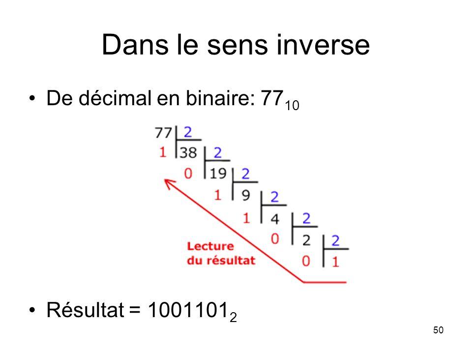 Dans le sens inverse De décimal en binaire: 77 10 Résultat = 1001101 2 50