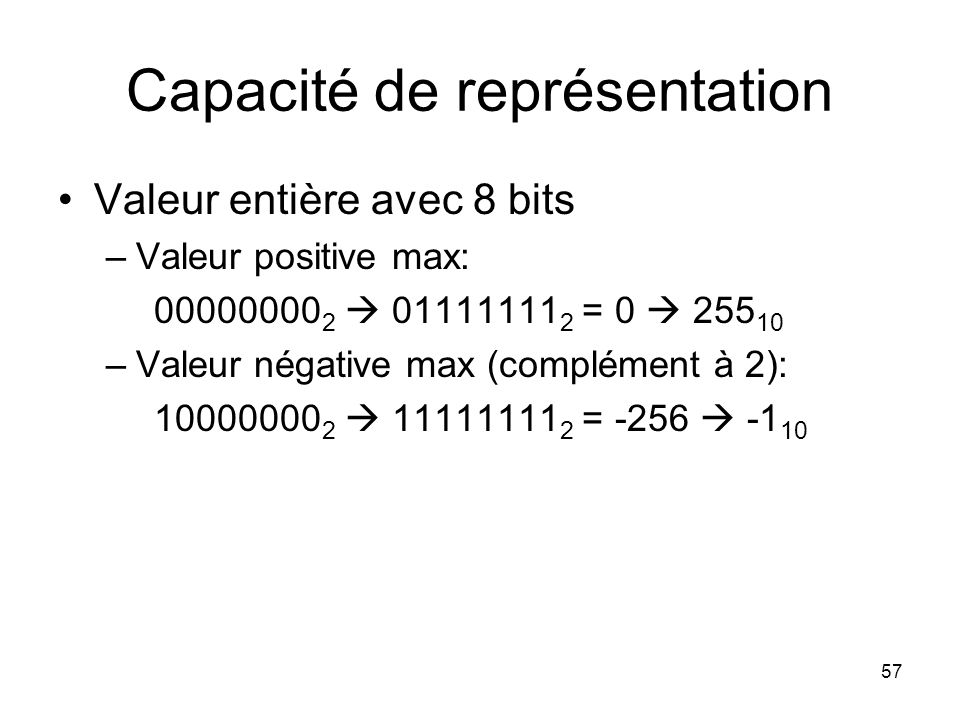 Capacité de représentation Valeur entière avec 8 bits –Valeur positive max: 00000000 2 01111111 2 = 0 255 10 –Valeur négative max (complément à 2): 10